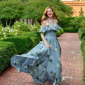 Trashy Diva French Blue Roses Hollywood Maxi Dress